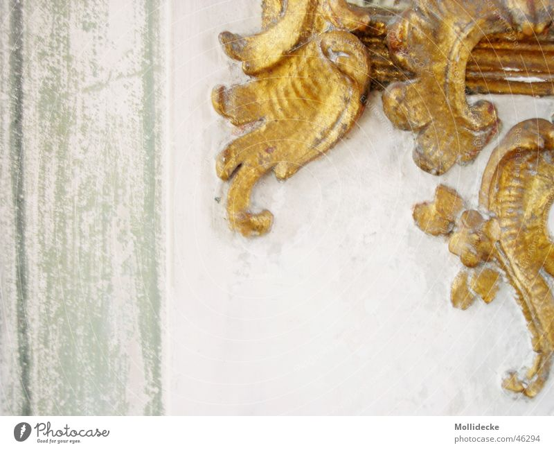 gold decoration Wall (building) Curlicue Stucco Green White Curved Edge Beautiful Gold Stone Baroque Adornment Decoration Old Architecture