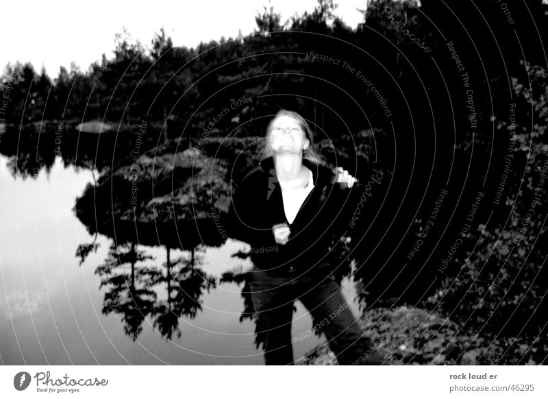 Nature Zipper Woman Gray Black White Lake Reflection Sweater Extract Undo Style Tree Striptease Blur Pattern Neck Looking Movement