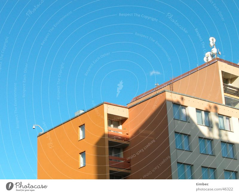 HOTEL Prague Hotel White Gastronomy Decline Antenna Window Balcony Boarding house Sleep Vacation & Travel Accommodation Partially visible Sky Blue Orange Shadow