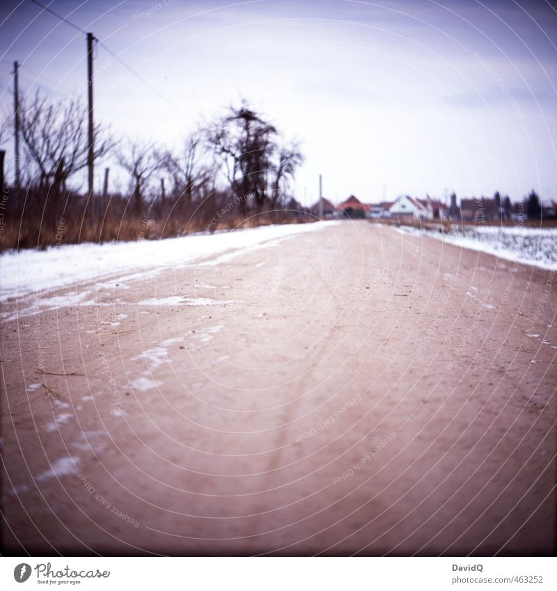 Landscape Winter Street Snow Lanes & trails Village Traffic infrastructure Analog Home country Homesickness