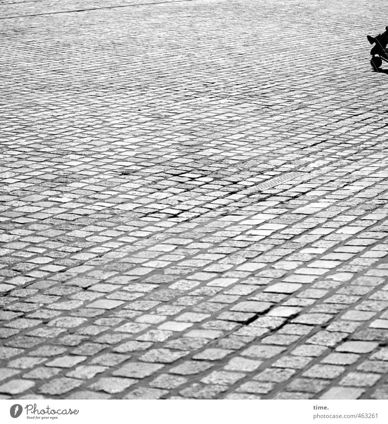 stone dairy Child 1 Human being Places Cobblestones Marketplace Baby carriage Sharp-edged Simple Far-off places Long Town Loneliness Empty Black & white photo