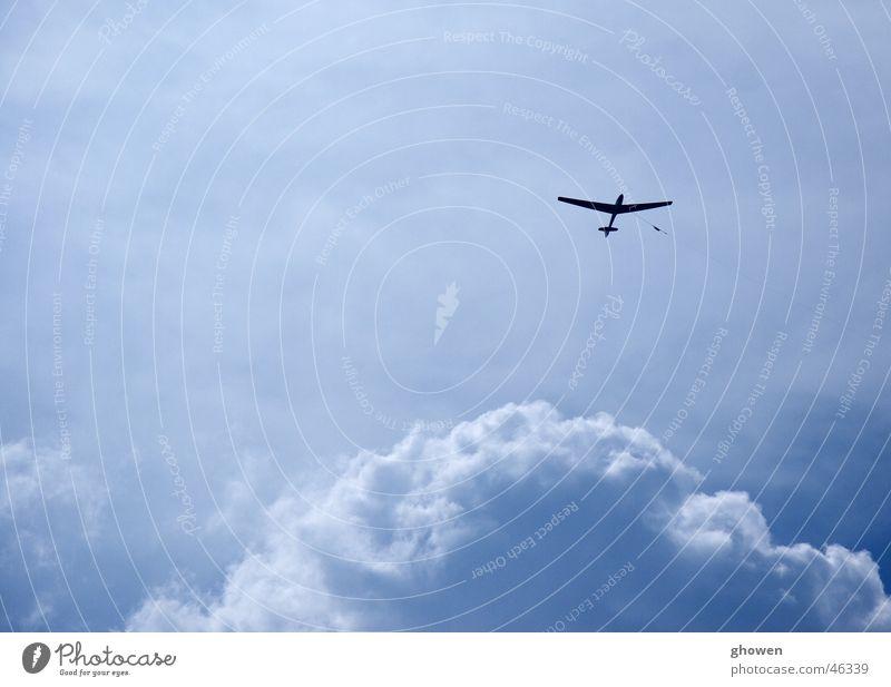 blue sky Clouds Large Sailplane Airplane Leisure and hobbies Blue Aviation Sky