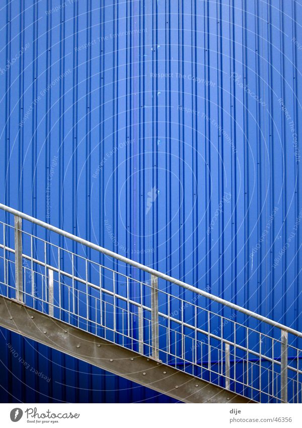 Blue Wall (building) Gray Building Line Waves Stairs Modern Ladder Diagonal Handrail Tin Aluminium Linearity
