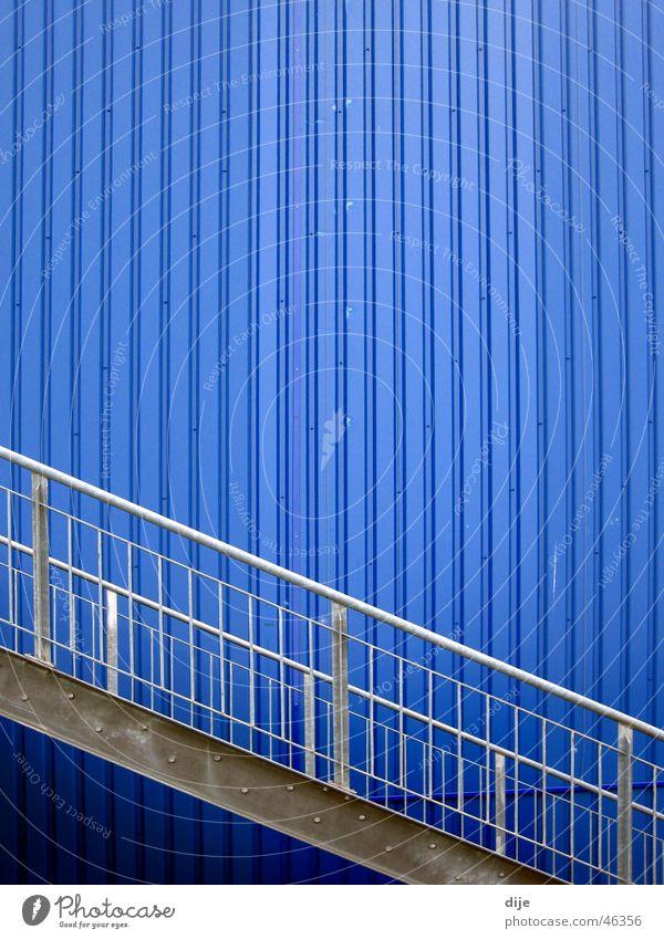 Blue Wall (building) Gray Building Line Waves Stairs Modern Ladder Diagonal Handrail Tin Aluminium Linearity