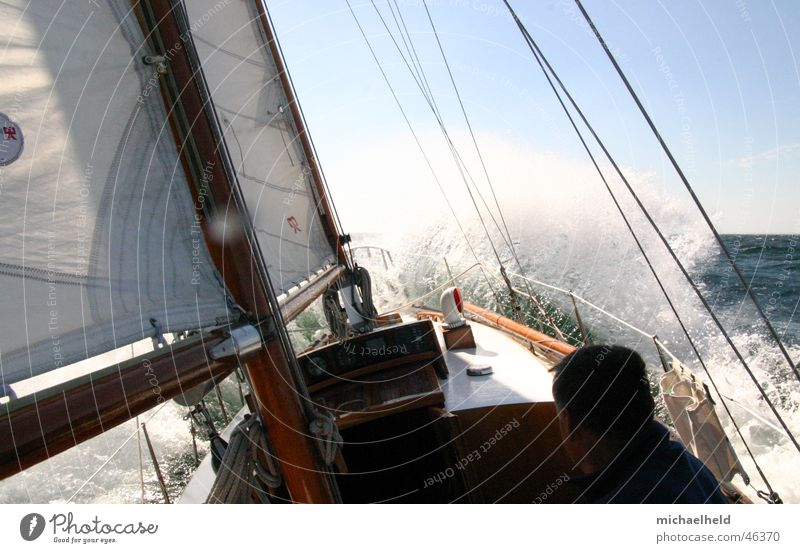 strong wind sailing Sailing White crest Ocean Sailing ship Ketch Shrouds Wet Headwind Wind Baltic Sea Sun Water Electricity pylon Denmark