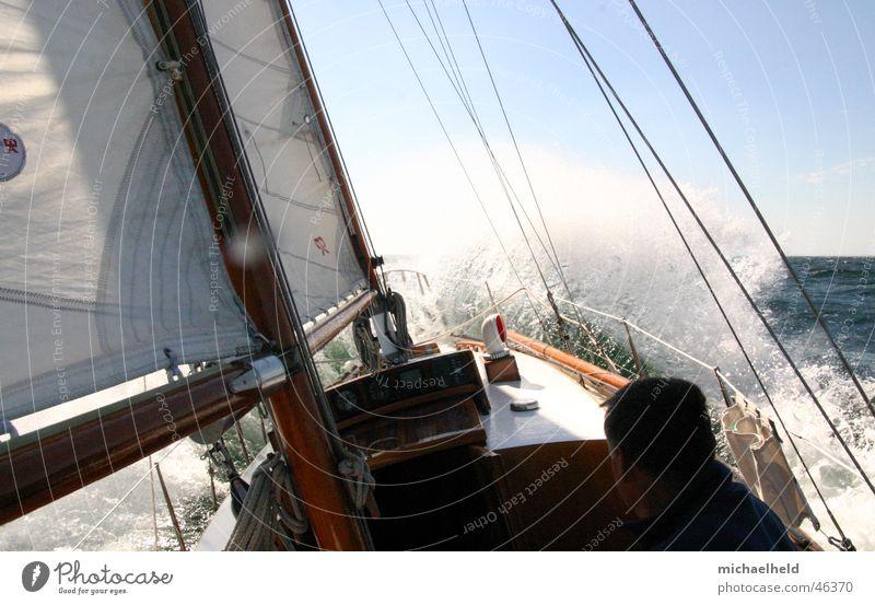 Water White Sun Ocean Sailboat Wind Wet Sailing Baltic Sea Electricity pylon Denmark Sailing ship White crest Headwind Shrouds