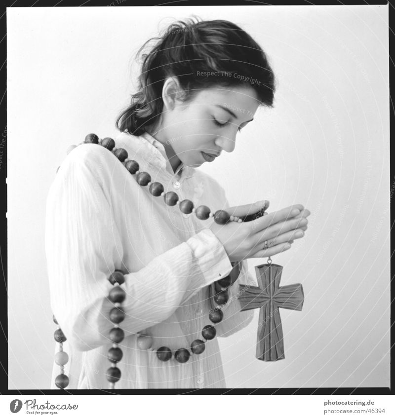 pray Religion and faith Woman Loyalty Firm Christianity Sin Think Thought Meditation Hand Guilty ponder Rosary