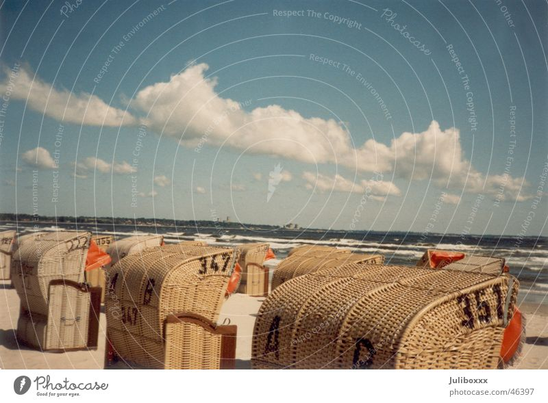Sky Sun Ocean Beach Vacation & Travel Clouds Freedom Happy Sand Landscape Happiness Baltic Sea Beach chair Seventies