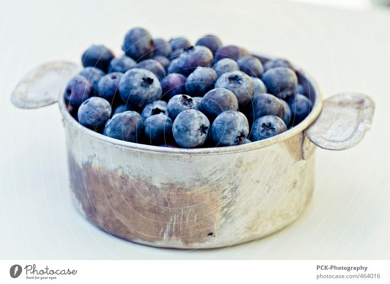 blueberry stew Food Fruit Organic produce Bowl Pot To enjoy Blueberry Aluminum container Metalware Violet Silver Isolated Image Colour photo Close-up