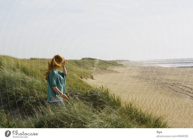 Stiff breeze Feminine Young woman Youth (Young adults) Woman Adults 1 Human being 18 - 30 years Landscape Sand Water Sky Horizon Wind Coast Beach North Sea