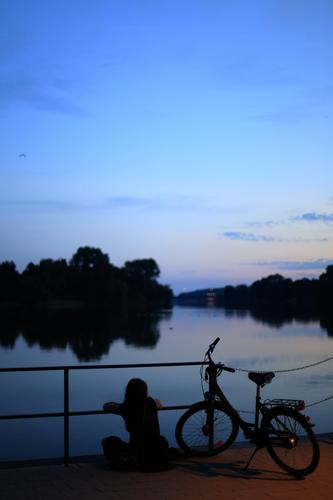 Relaxed summer evening Lifestyle Human being Feminine 1 18 - 30 years Youth (Young adults) Adults Environment Landscape Water Summer Beautiful weather Coast