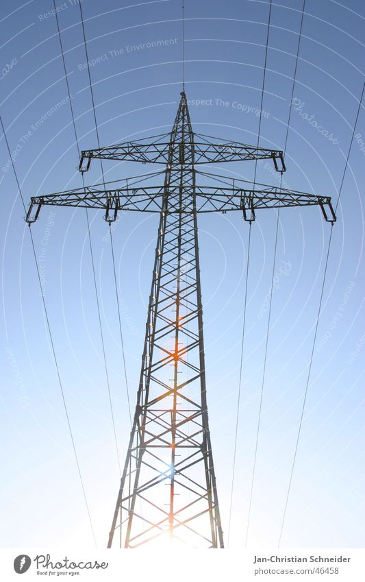 Sky Sun Metal Energy industry Electricity Cable Electricity pylon Transmission lines Mud flats