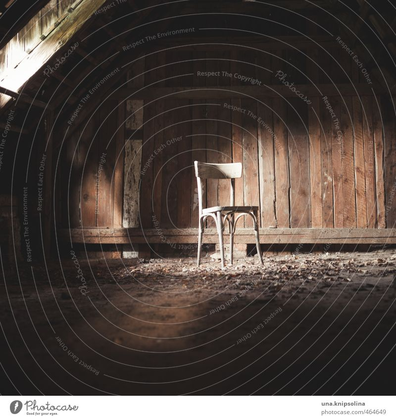 Take a seat! Living or residing Chair Attic Wood Dark Loneliness End Past Transience Change Destruction Dirty Empty Forget Colour photo Subdued colour