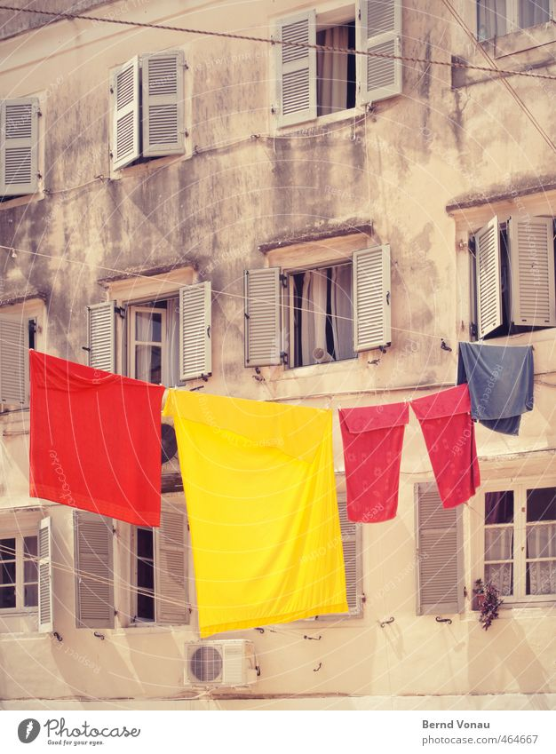 Blue Summer Red House (Residential Structure) Yellow Bright Dirty Happiness Transience Clean Summer vacation Hang Downtown Laundry Dry Clothesline