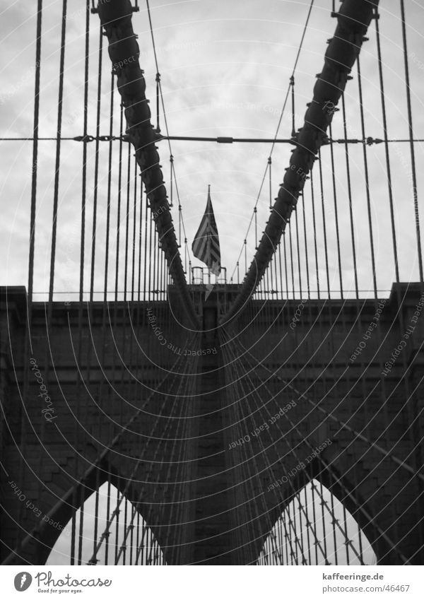 brooklyn bridge Clouds Stripe Americas New York City Flag Manmade structures Black White Gray Manhattan Bridge Sky USA Cover Symetric