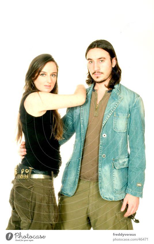 Woman Man Love Model Jacket Shirt Long-haired Embrace Belt Affection