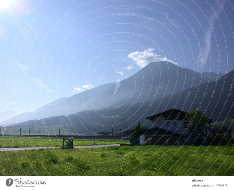 farsightedness Austria Federal State of Tyrol White Green Clouds Vacation & Travel Meadow Fog Morning Alpine pasture House (Residential Structure) Sky Nature