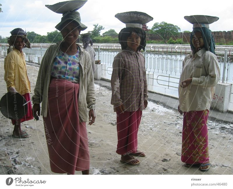Mandalay Ladies Myanmar Grinning construction asia.