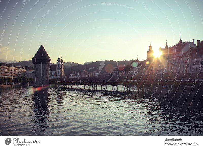 Lucerne Water Cloudless sky Beautiful weather Lake Lucerne Switzerland Europe Town Old town House (Residential Structure) Church Bridge Tower Manmade structures