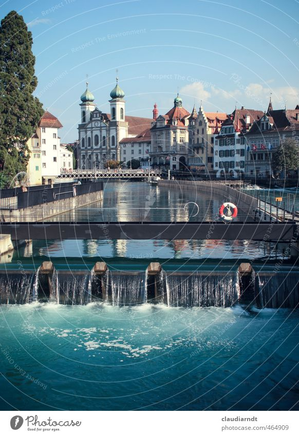 Rescue in Lucerne Water Sky Beautiful weather River reuss Switzerland Europe Town Old town Church Bridge Manmade structures Architecture Tourist Attraction