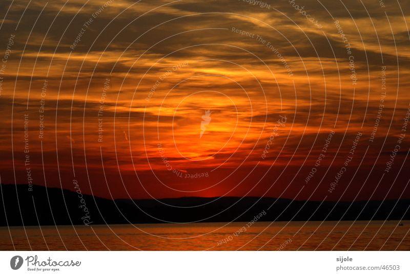 Sky Red Clouds Yellow Lake Orange Horizon Dusk Lake Constance