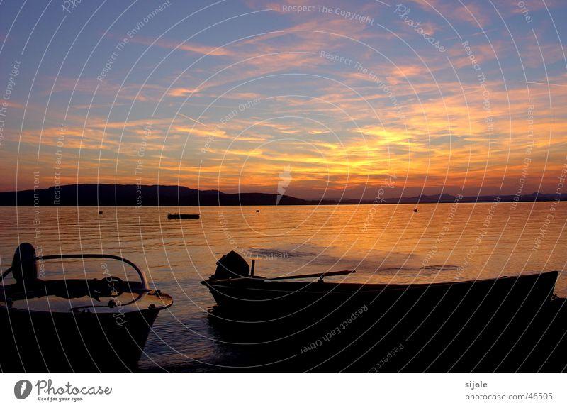 boats Watercraft Lake Sunset Dusk Sky