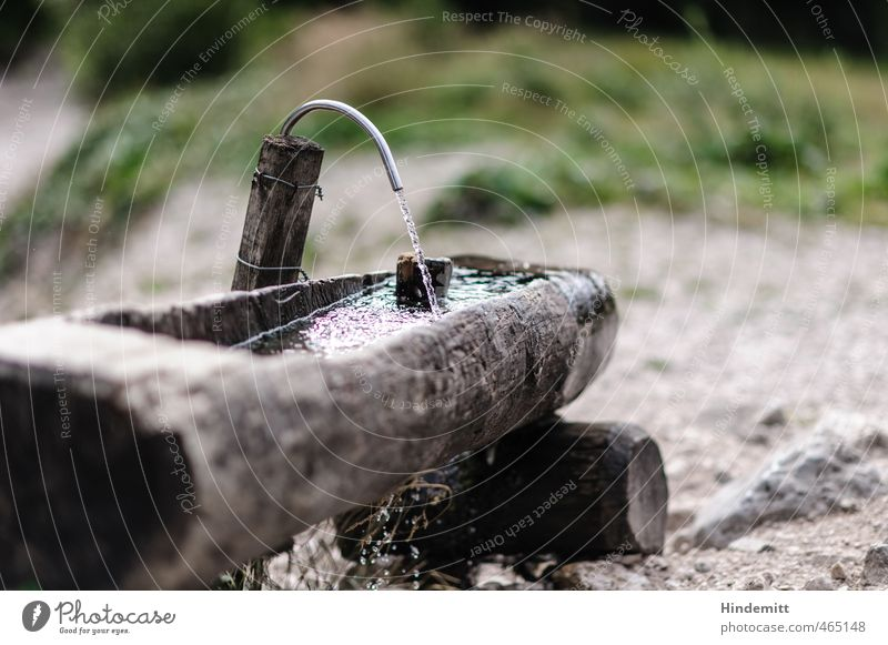 Monday morning refreshment? Cold drink Personal hygiene Wellness Life Summer Summer vacation Mountain Hiking Earth Water Grass Meadow Rock Stone Wood Metal