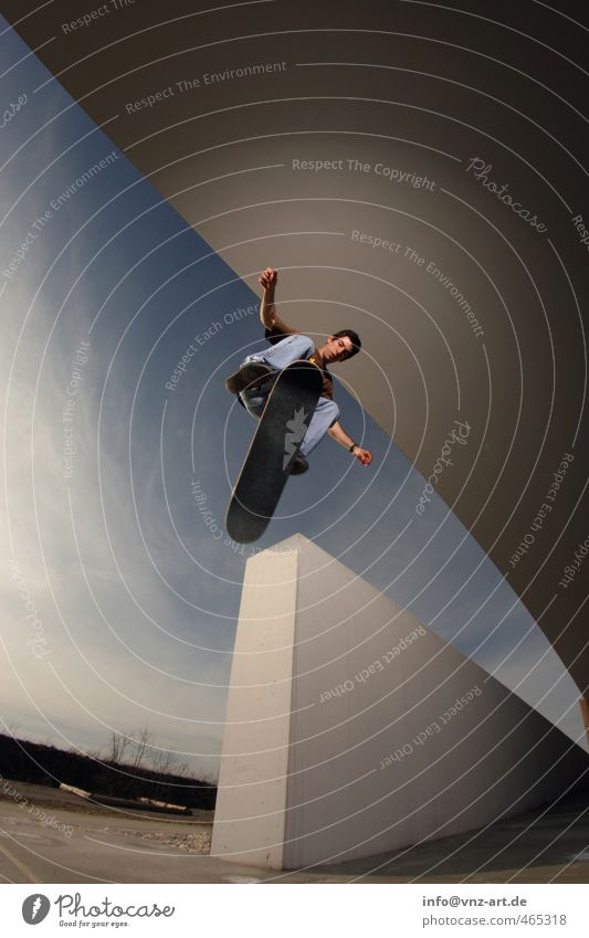 360Flip Trick Skateboarding Inline skating Wall (barrier) Light Flash photo Action Thrill Funsport Sports Driving Jump Wide angle Fisheye Man Sportsperson