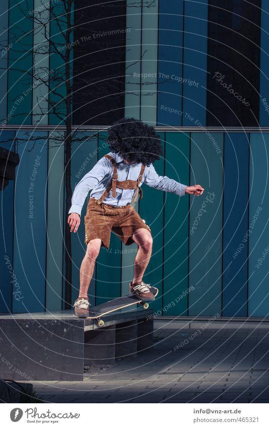 Man Blue Joy Sports Wall (barrier) Building Jump Action Dangerous Driving Skateboarding Bavaria Sportsperson Inline skating Trick
