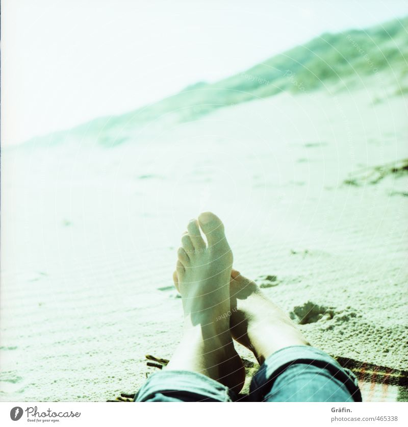 beach day Feet 1 Human being Sand Sunlight Coast Relaxation Lie Blue Green Serene Calm Loneliness Leisure and hobbies Idyll Dream Vacation & Travel Colour photo