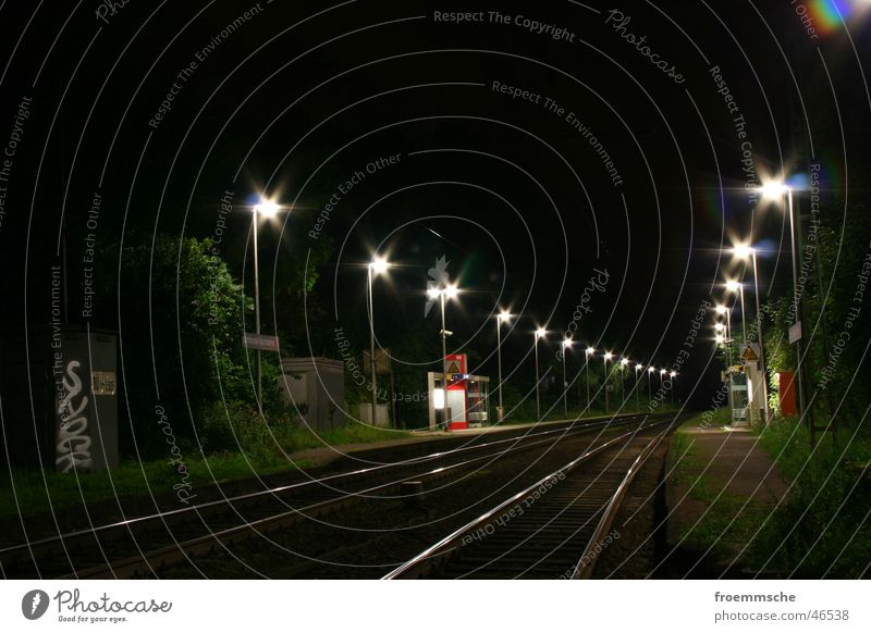 station lighting Night Railroad tracks Station Train station Lighting rails lights train