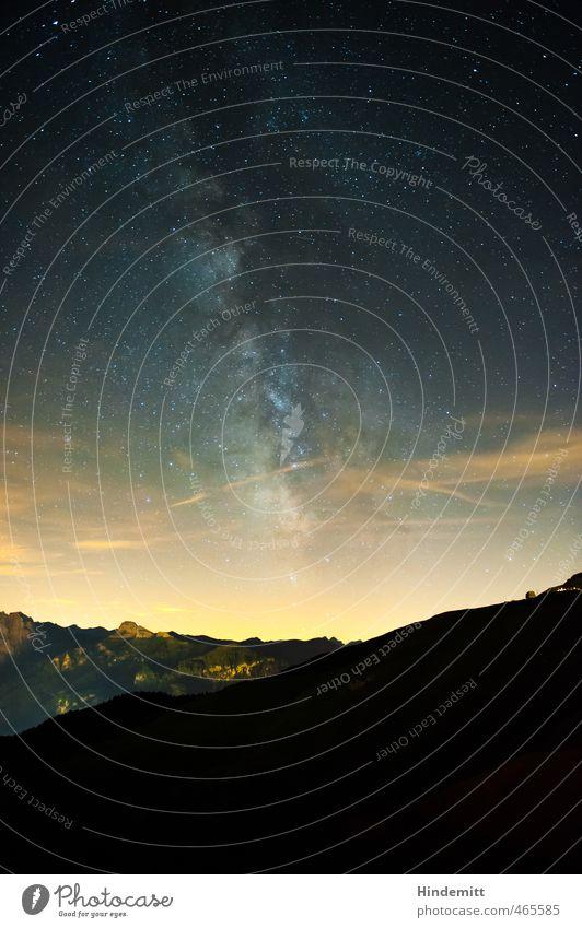 Galactic Center III Sky Night sky Stars Summer Beautiful weather Forest Hill Rock Alps Mountain Peak Glittering Stand Illuminate Esthetic Exceptional Dark