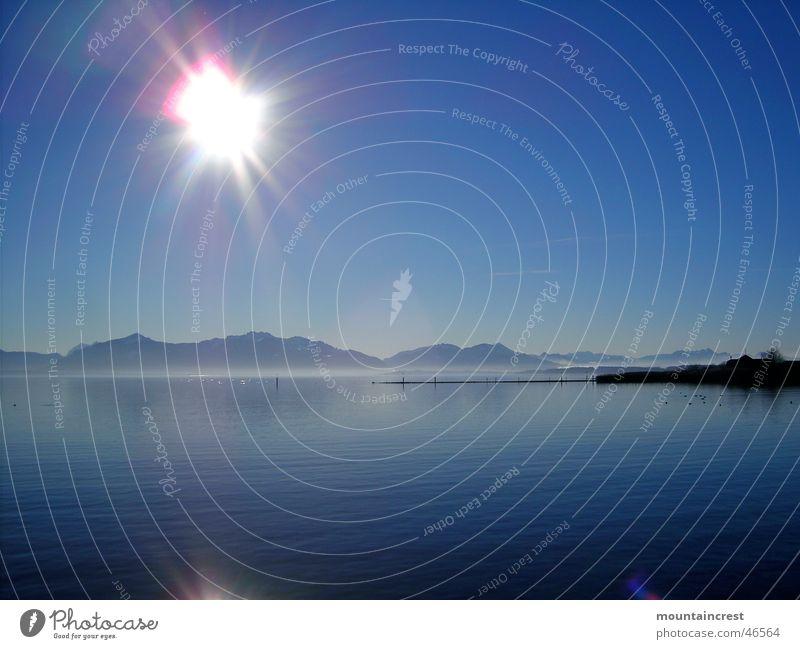 Water Sun Blue Winter Calm Far-off places Cold Mountain Lake Large Clarity Deep Bavaria Lake Chiemsee Upper Bavaria Chiemgau