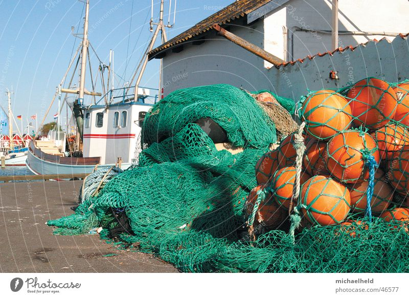 fishing port Fisherman Watercraft Fishing boat Bagenkop Ocean Buoy Rope Tar House (Residential Structure) Roof Green Fishing net Work and employment Navigation