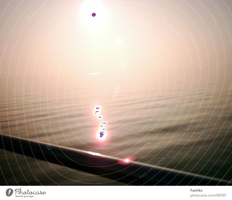 black sun Physics Simplistic Red Ocean Sunset bow rail Water Warmth Reflection
