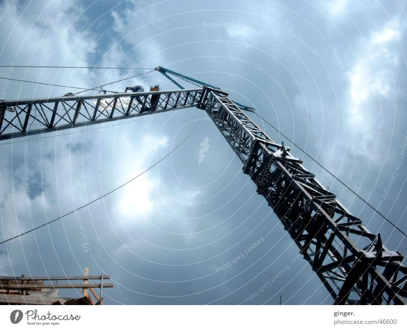 Sky Clouds Metal Tall Technology Construction site Longing Steel cable Build Crane Motionless Flexible Prop Aspire Linen Wire cable