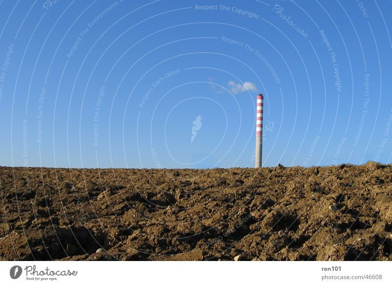 chimney Field Brown Red Smoke Sky Blue Chimney Cloudless sky Industrial Photography Climate change Warning colour Warning stripes Tall Round Wind Plowed Earth 1