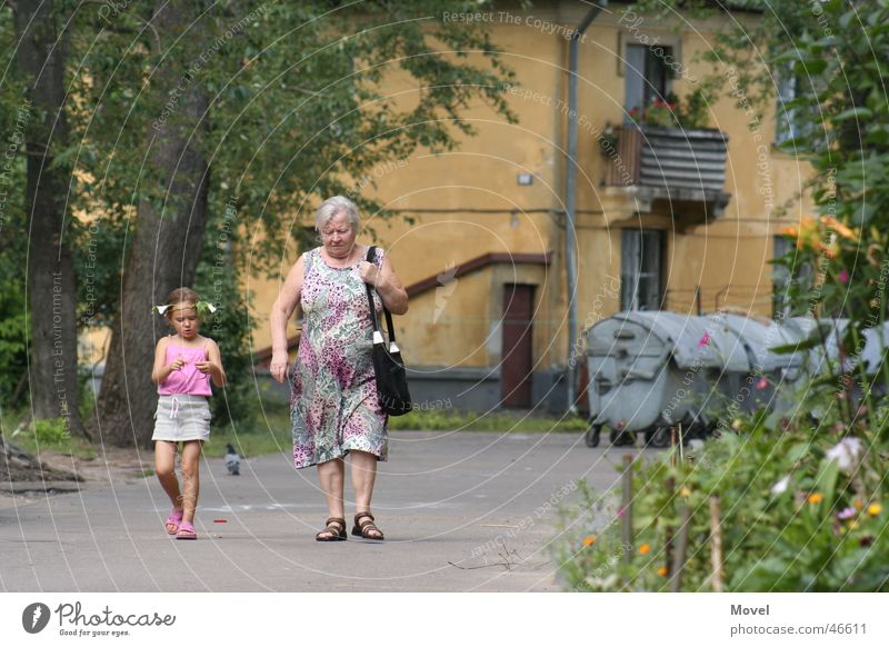Sunday walk Grandmother Grandchildren Girl Ghetto Human being woman russia walking To talk peoples