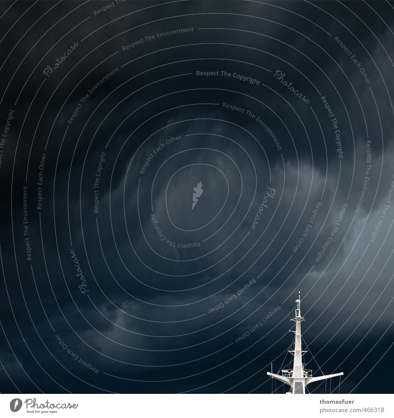 squall hammer Cruise Summer Ocean Waves Sailing Sky Storm clouds Bad weather Wind Gale Thunder and lightning Navigation Ferry Watercraft signal mast