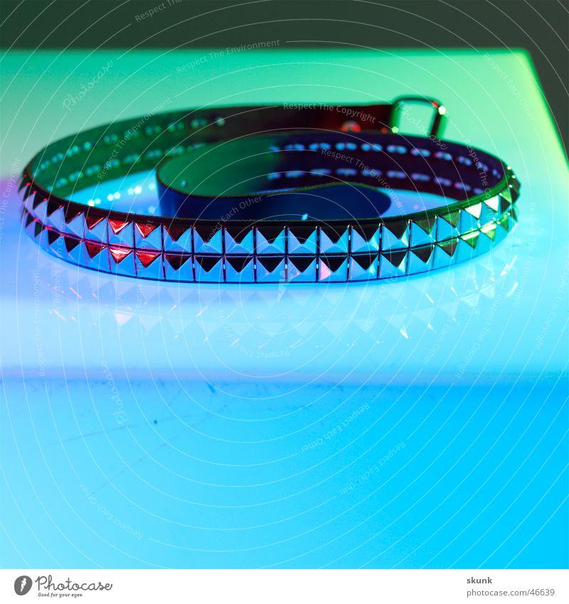 Rivet Belt 1- Spiral Colour transition Leather Reflection Green Point Punk Blue