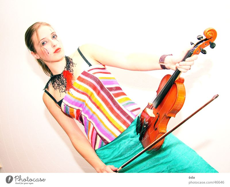Violin #1 Woman Playing Jewellery Necklace Wearing makeup Make-up Posture Face Music Looking