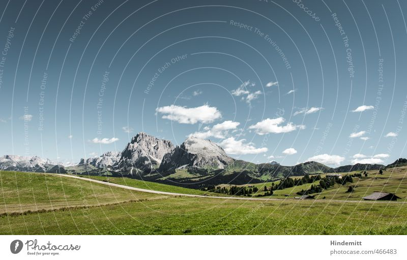 Actual cultural landscape [landscape] Environment Nature Landscape Elements Earth Air Sky Clouds Beautiful weather Grass Meadow Forest Hill Rock Alps Mountain