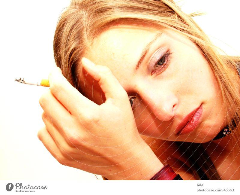 Woman Beautiful Eyes Sweet Posture Smoking Cigarette Make-up Cosmetics Wearing makeup
