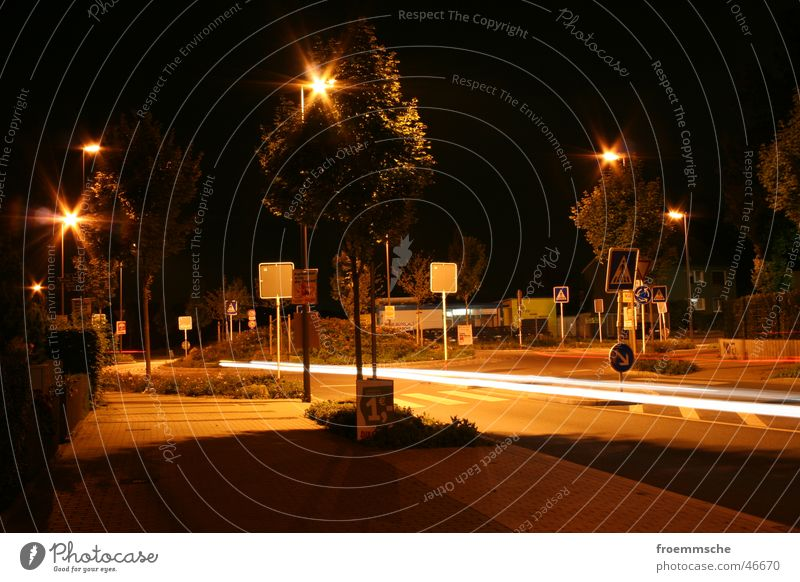 roundabout at night Night Lantern Traffic circle Long exposure Town Transport Light Street long-time exposure roundabout traffic