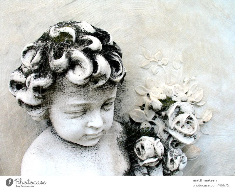 White Flower Calm Boy (child) Death Stone Bright Grief Peace Derelict Sculpture Safety (feeling of) Cemetery Grave Work of art Relief