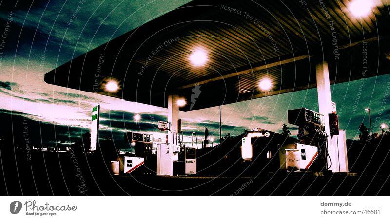 end-time Petrol station Waiter Summer Petrol pump Hose Gasoline Plus Diesel Light Clouds Industrial district oneself Evening Column Great Sunset
