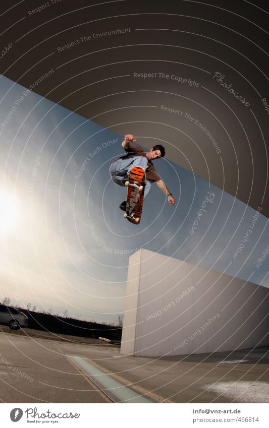 City Young man Wall (barrier) Architecture Jump Flying Action Dangerous Athletic Skateboarding Sportsperson Inline skating Trick Thrill