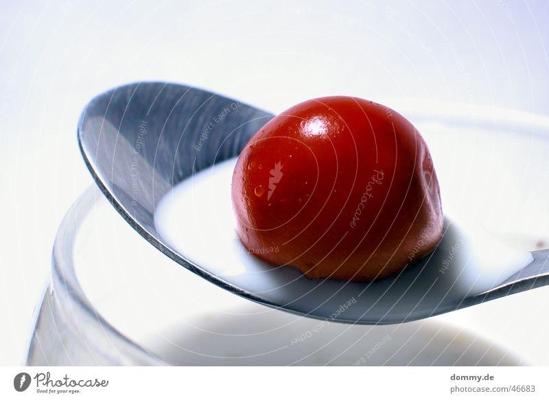 White Red Nutrition Glass Food Beverage Sweet Round Dish Silver Milk Cherry Spoon Milkshake