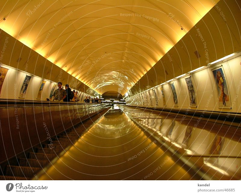 No light at the end of the tunnel Underground Prague Light Diagonal Escalator Subsoil Driving tube. tunnel Railroad Upward Movement Placed Logistics