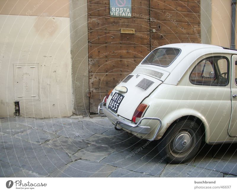 cinquecento Vacation & Travel Arezzo Italy Europe Town Downtown Old town Manmade structures Building Door Monument Motoring Street Car Vintage car